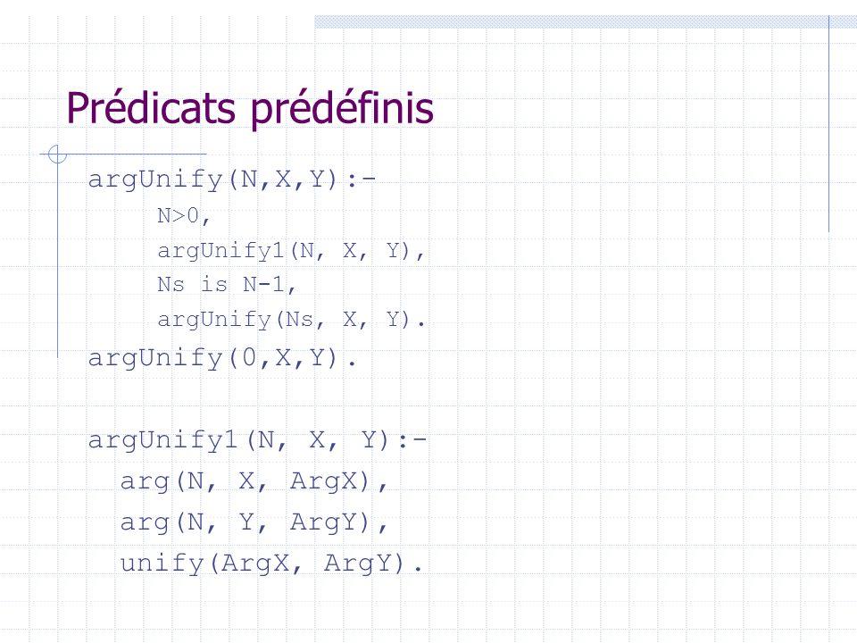 Prédicats prédéfinis argUnify(N,X,Y):- argUnify(0,X,Y).