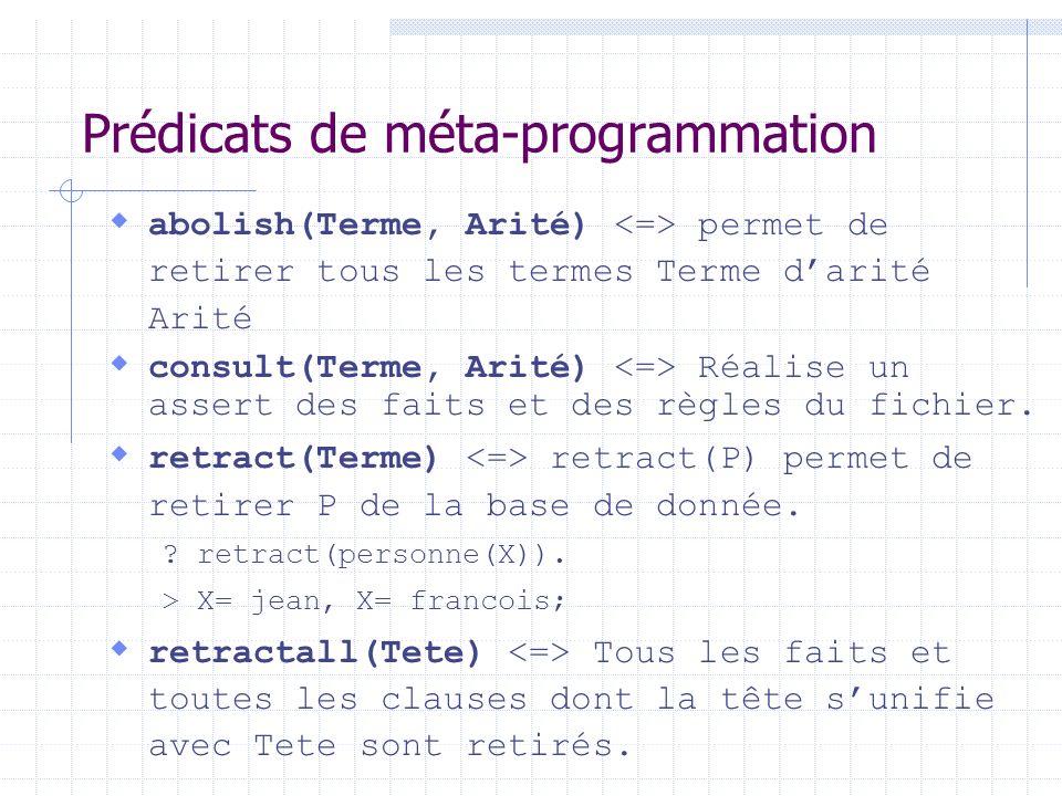 Prédicats de méta-programmation
