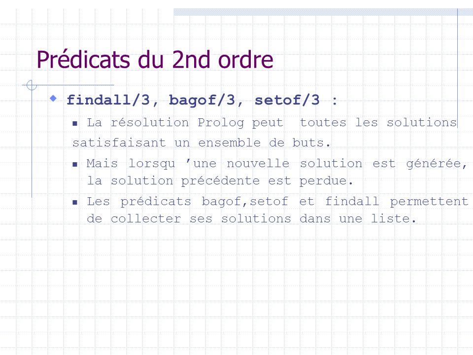 Prédicats du 2nd ordre findall/3, bagof/3, setof/3 :