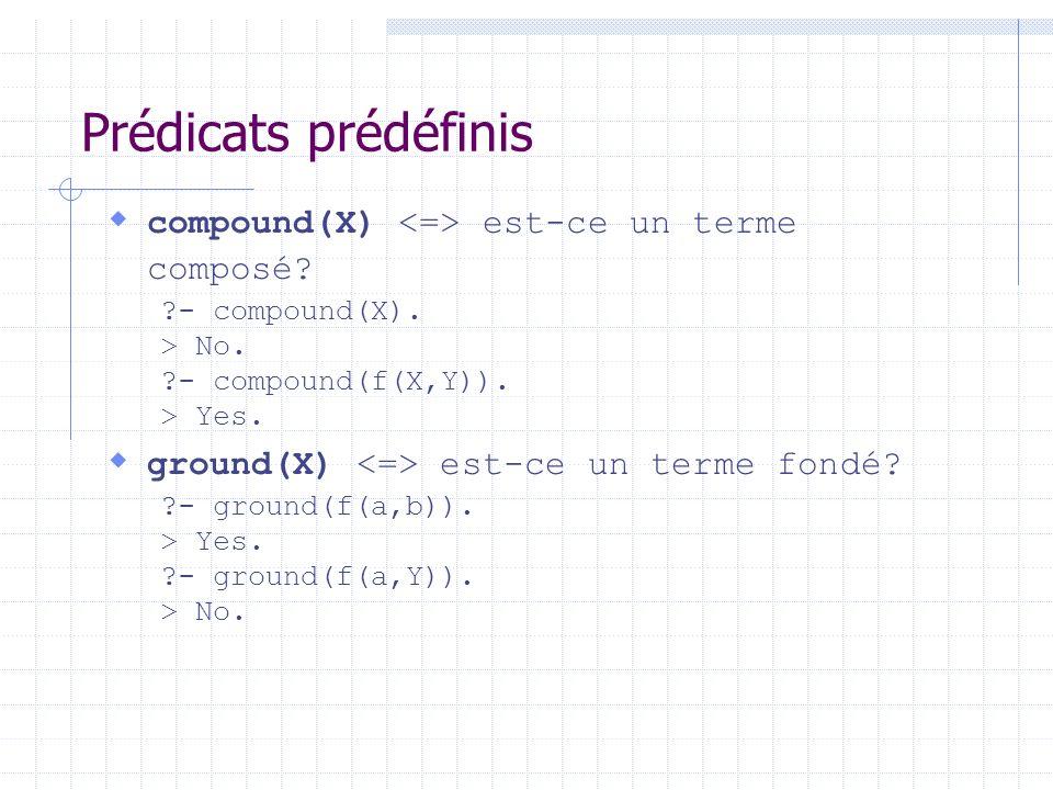 Prédicats prédéfinis compound(X) <=> est-ce un terme composé