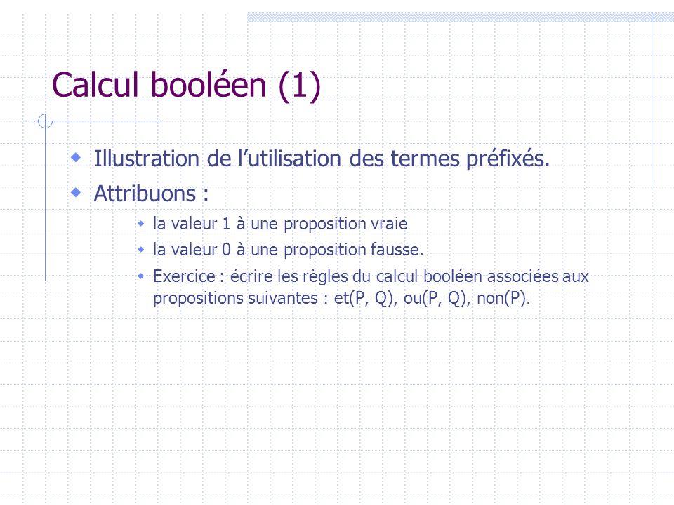 Calcul booléen (1) Illustration de l'utilisation des termes préfixés.
