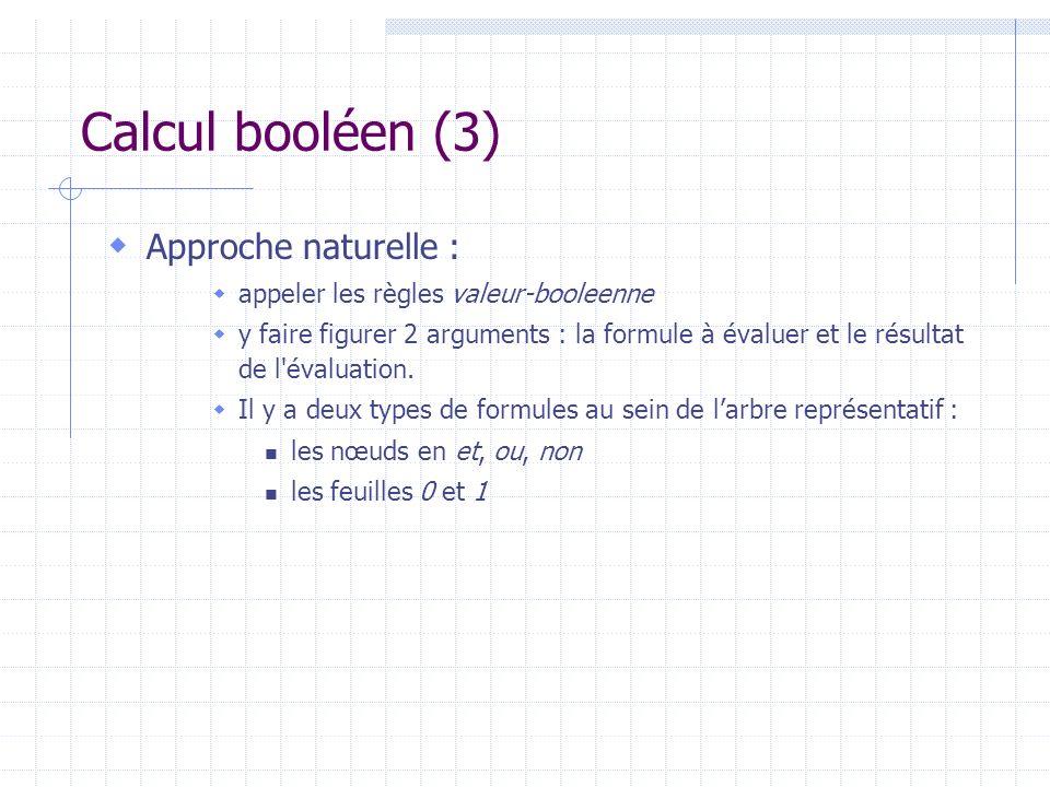 Calcul booléen (3) Approche naturelle :