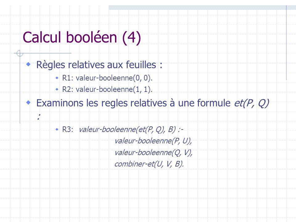 Calcul booléen (4) Règles relatives aux feuilles :