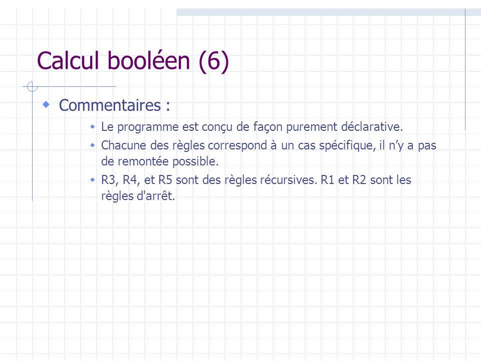 Calcul booléen (6) Commentaires :