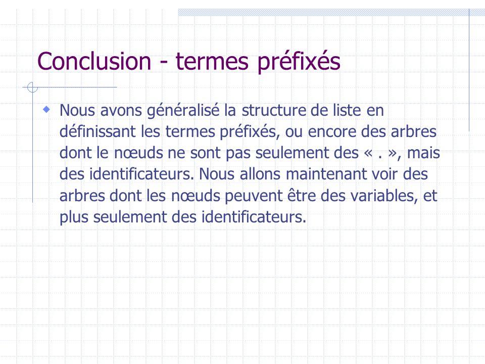 Conclusion - termes préfixés