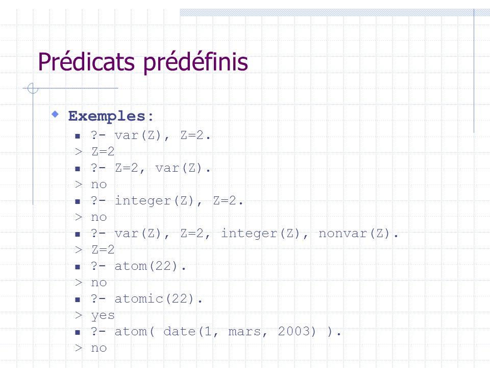 Prédicats prédéfinis Exemples: - var(Z), Z=2. > Z=2