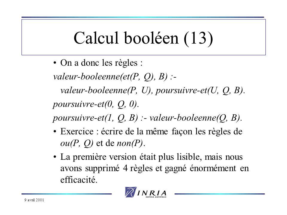 Calcul booléen (13) On a donc les règles :