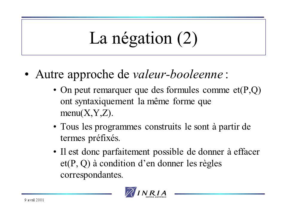 La négation (2) Autre approche de valeur-booleenne :