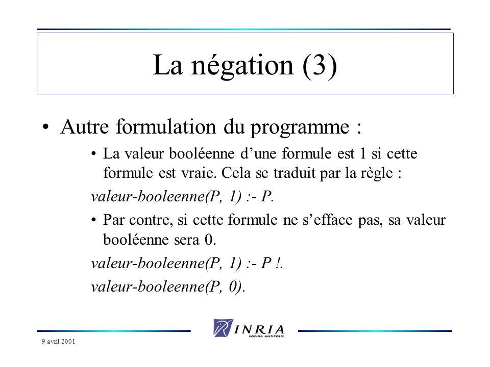 La négation (3) Autre formulation du programme :