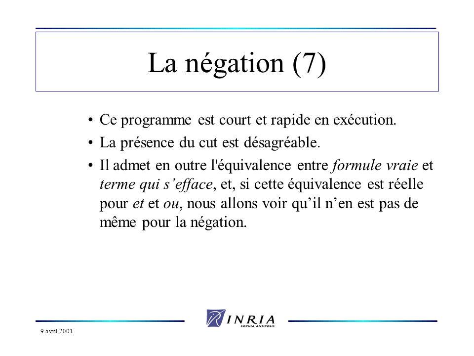 La négation (7) Ce programme est court et rapide en exécution.