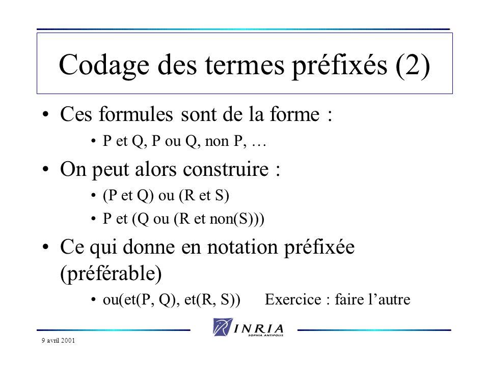 Codage des termes préfixés (2)