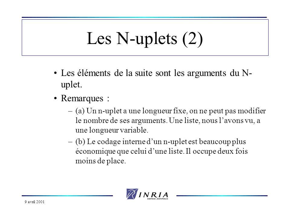 Les N-uplets (2) Les éléments de la suite sont les arguments du N-uplet. Remarques :