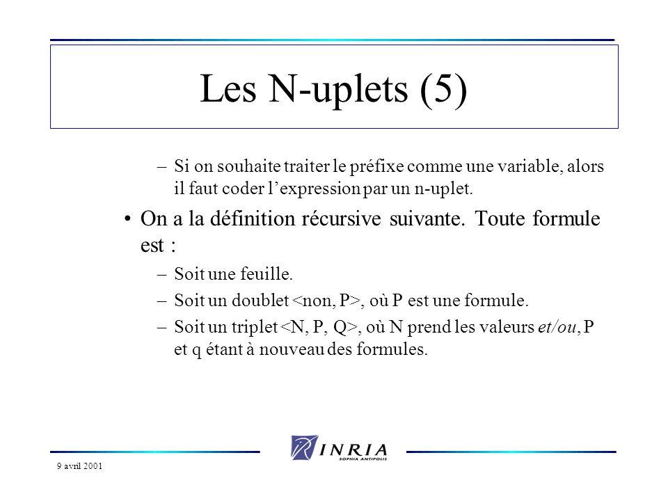 Les N-uplets (5) Si on souhaite traiter le préfixe comme une variable, alors il faut coder l'expression par un n-uplet.