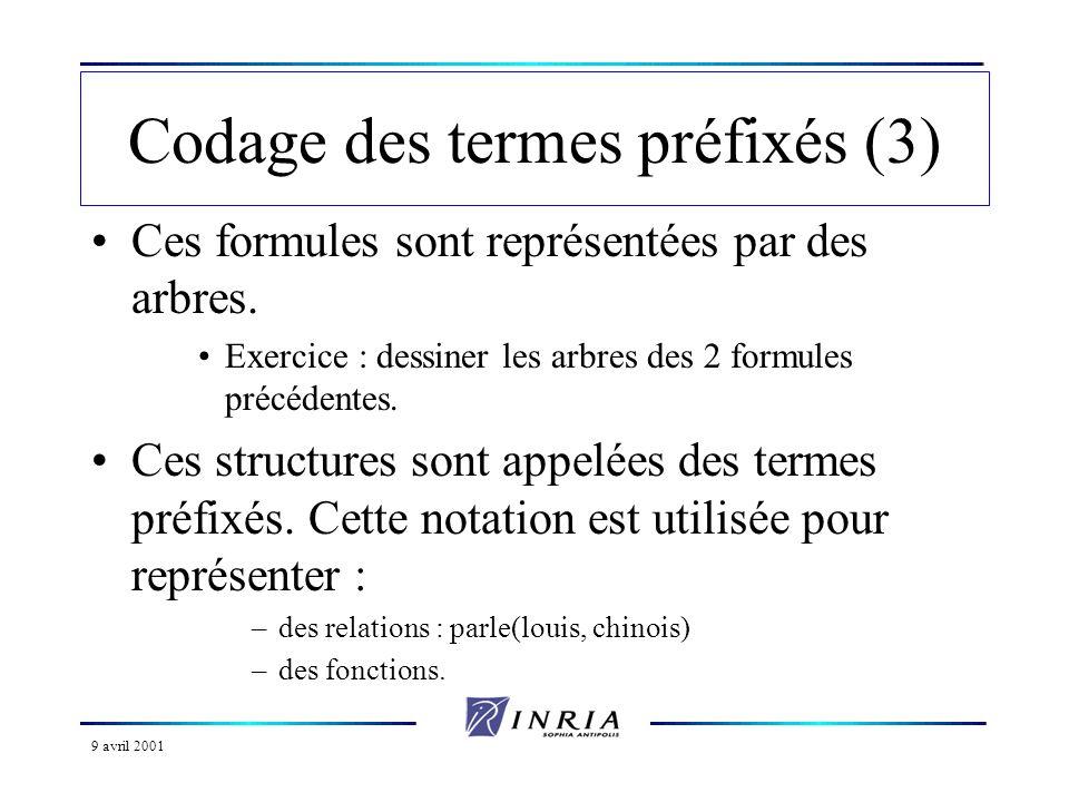 Codage des termes préfixés (3)