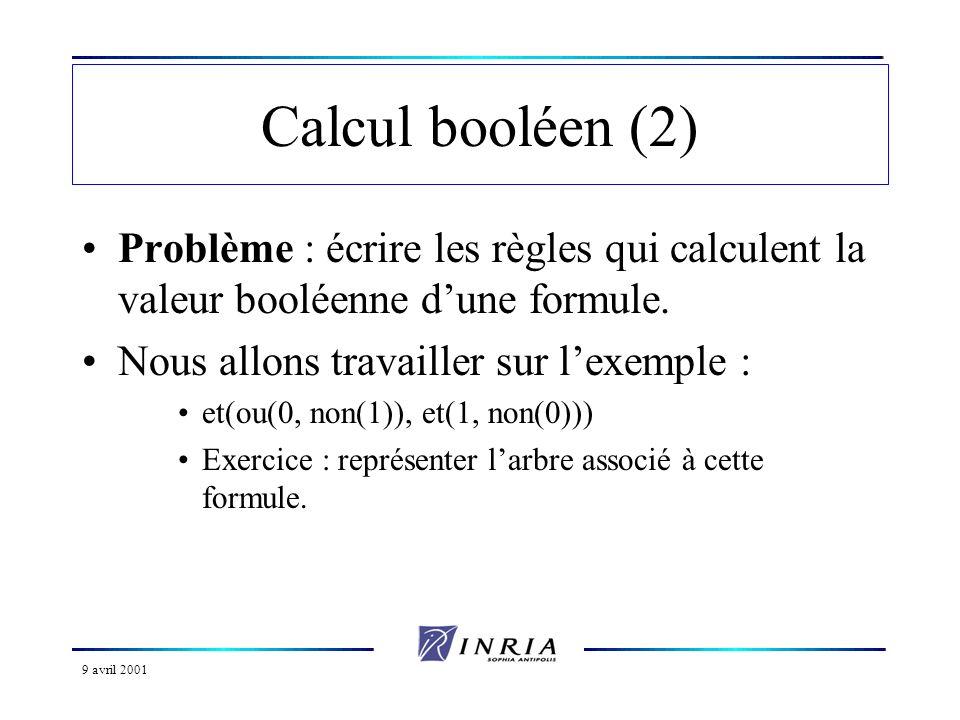 Calcul booléen (2) Problème : écrire les règles qui calculent la valeur booléenne d'une formule. Nous allons travailler sur l'exemple :