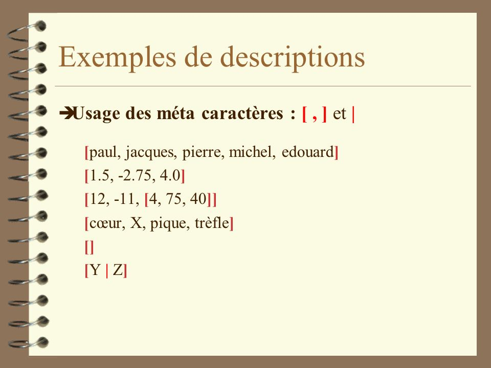 Exemples de descriptions