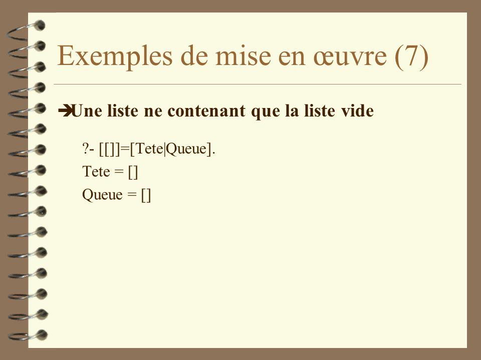 Exemples de mise en œuvre (7)