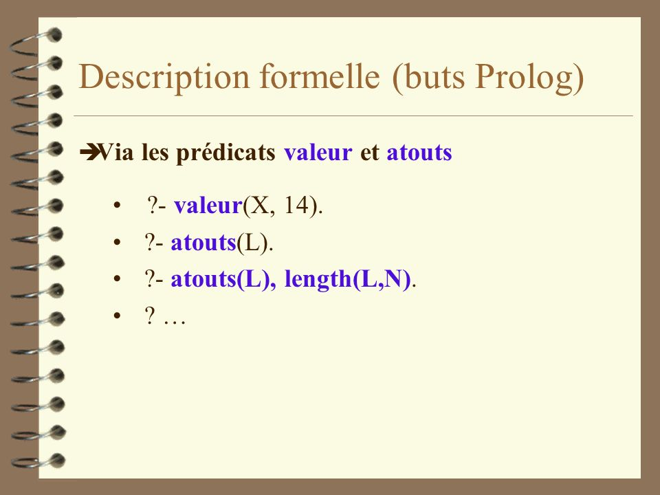 Description formelle (buts Prolog)