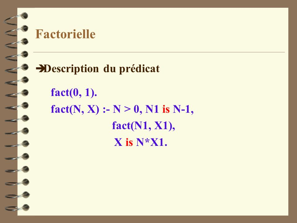 Factorielle Description du prédicat fact(0, 1).