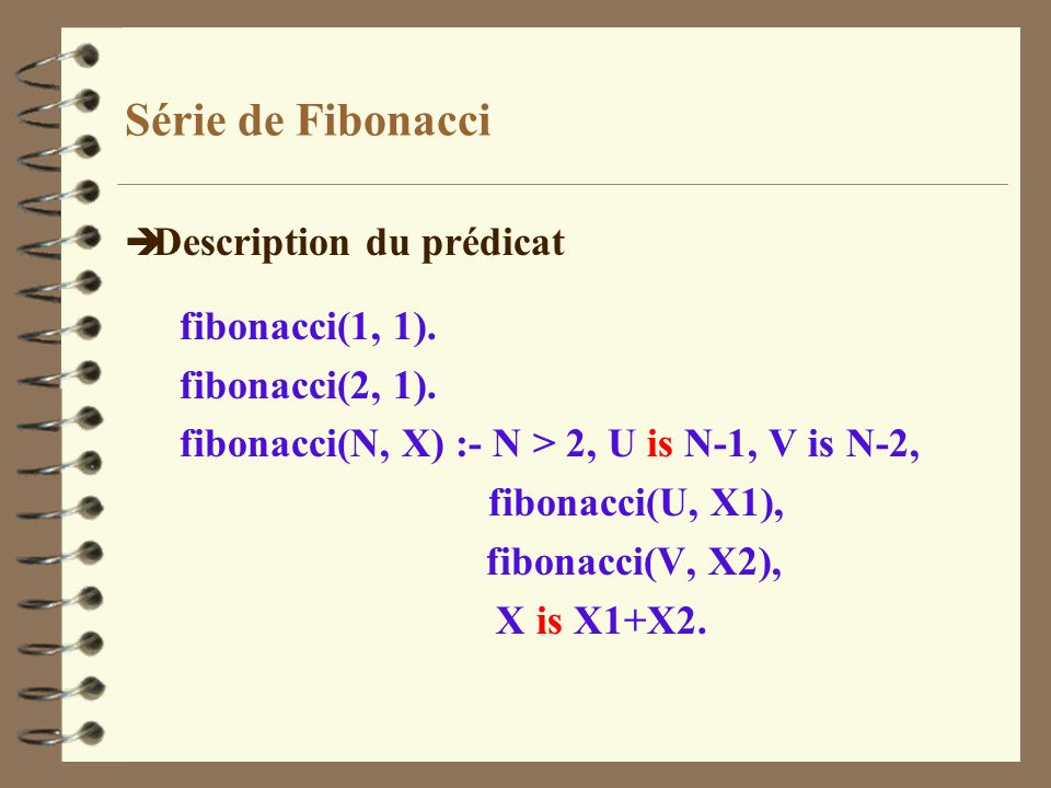 Série de Fibonacci Description du prédicat fibonacci(1, 1).