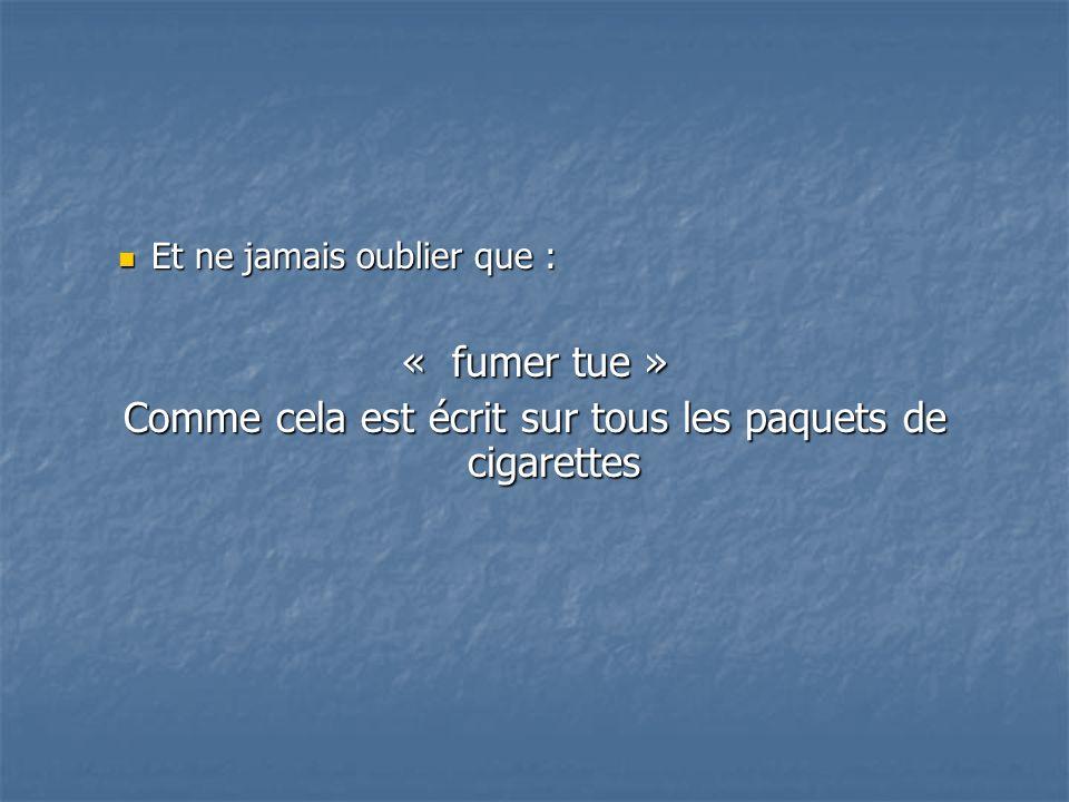 Comme cela est écrit sur tous les paquets de cigarettes