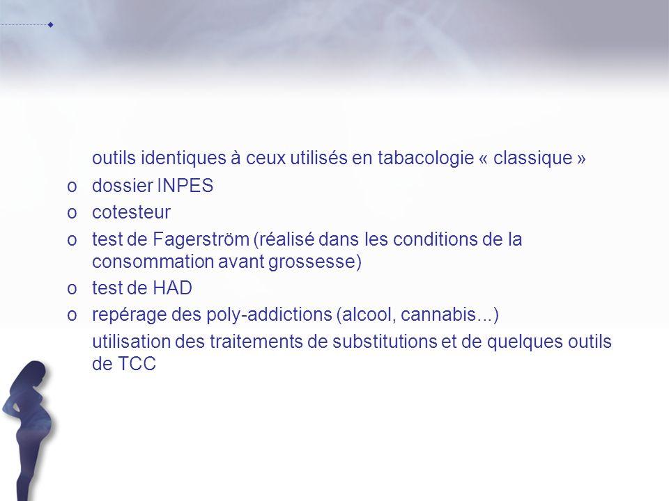 outils identiques à ceux utilisés en tabacologie « classique »