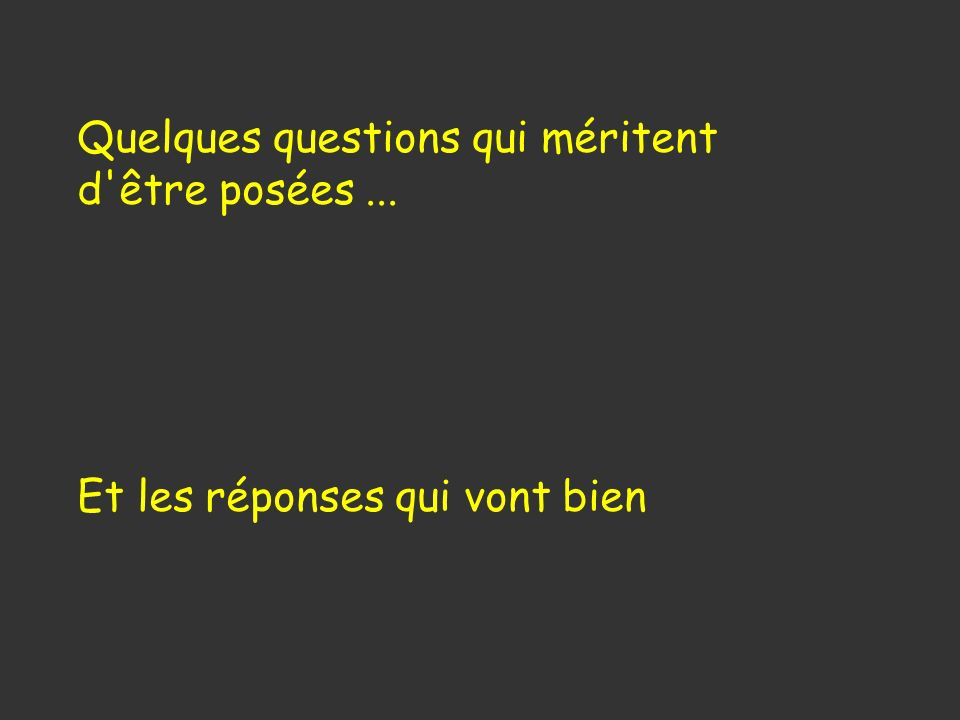 Quelques questions qui méritent