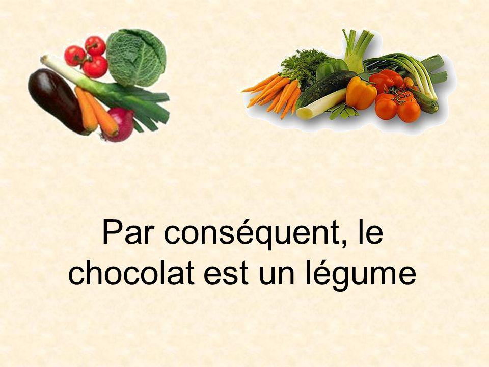Par conséquent, le chocolat est un légume