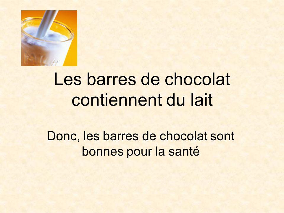 Les barres de chocolat contiennent du lait