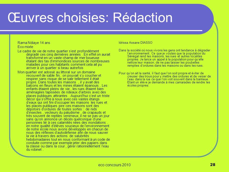 Œuvres choisies: Rédaction