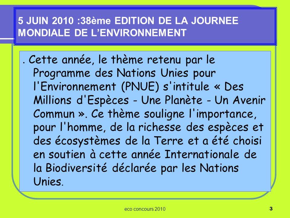 5 JUIN 2010 :38ème EDITION DE LA JOURNEE MONDIALE DE L'ENVIRONNEMENT