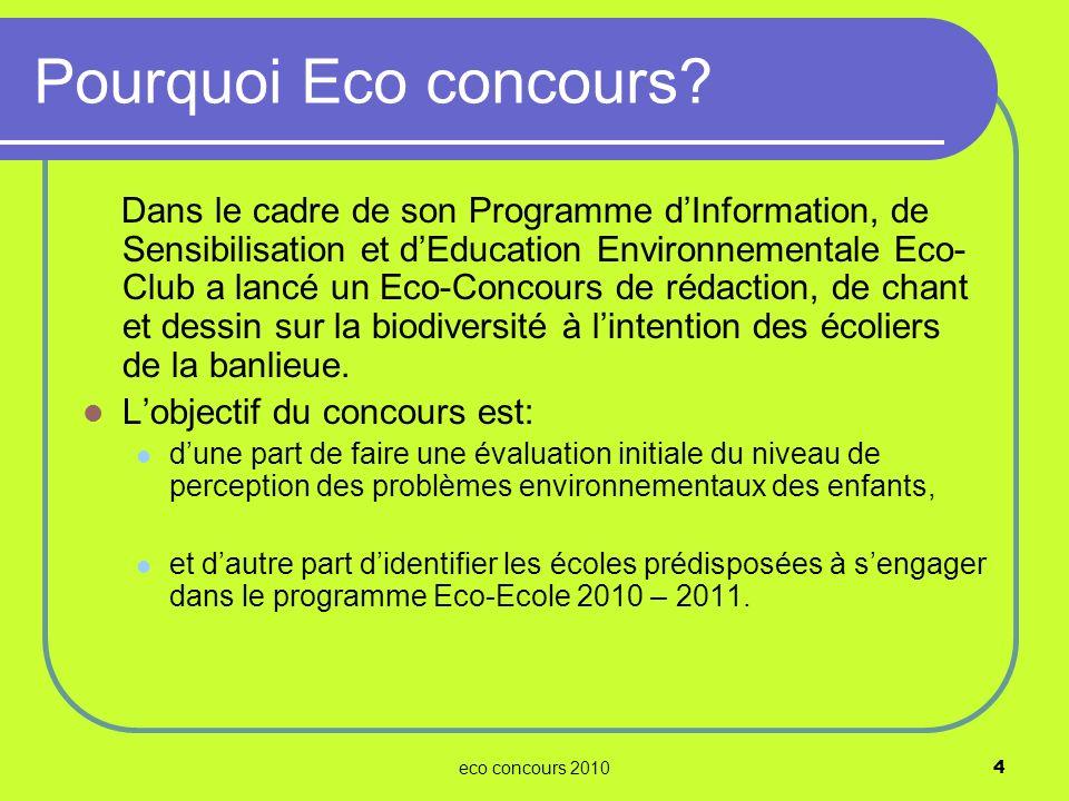 Pourquoi Eco concours