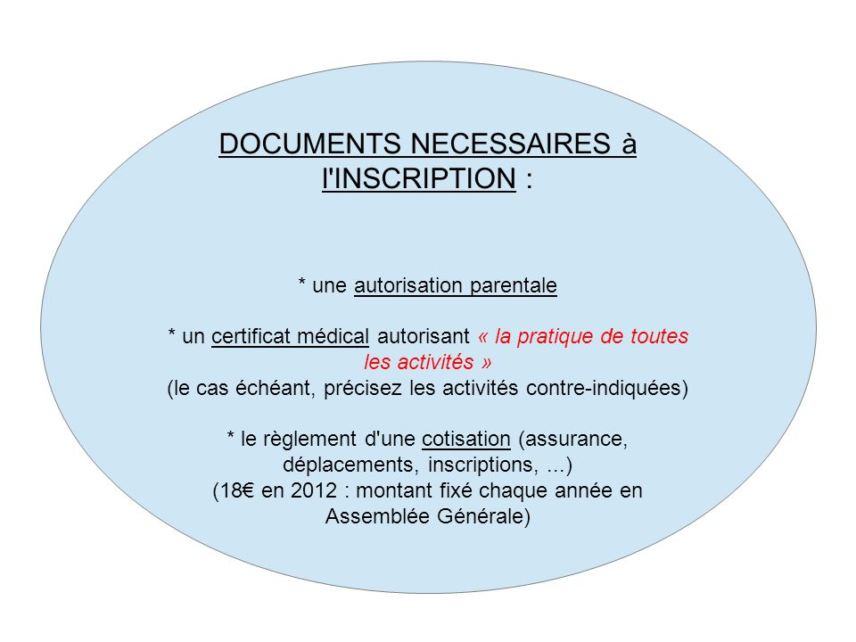 DOCUMENTS NECESSAIRES à l INSCRIPTION :