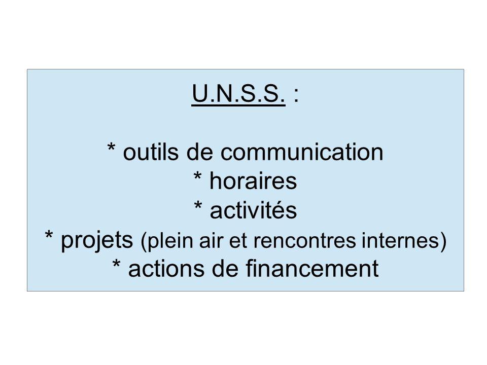 * outils de communication * horaires * activités