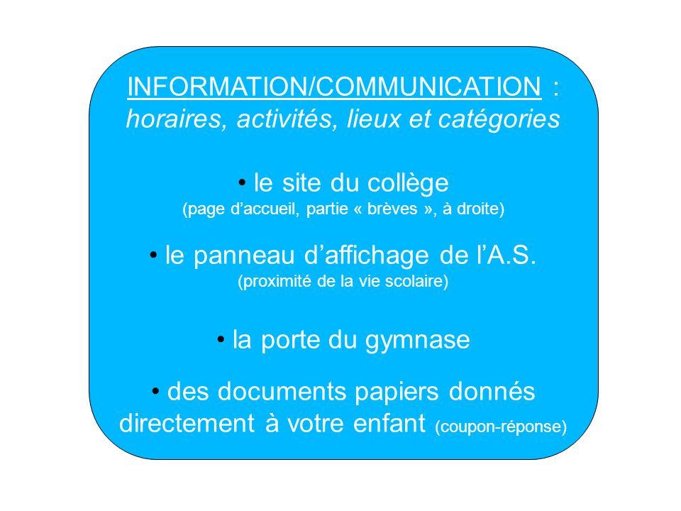 INFORMATION/COMMUNICATION : horaires, activités, lieux et catégories