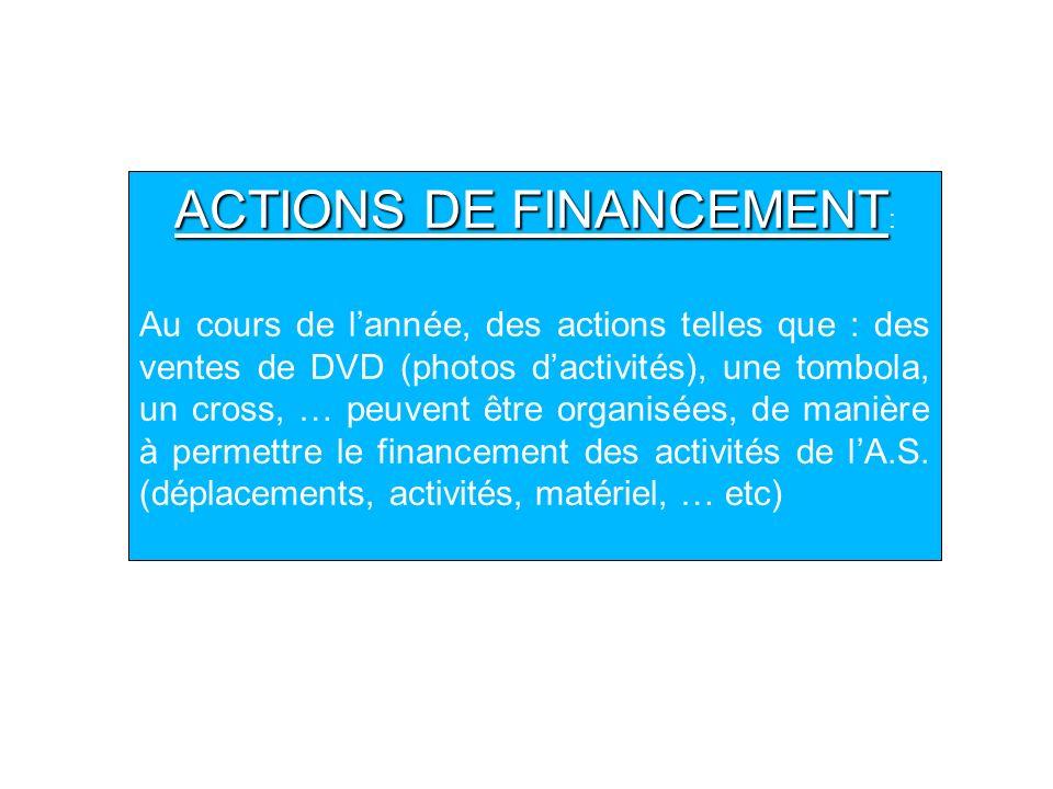 ACTIONS DE FINANCEMENT: