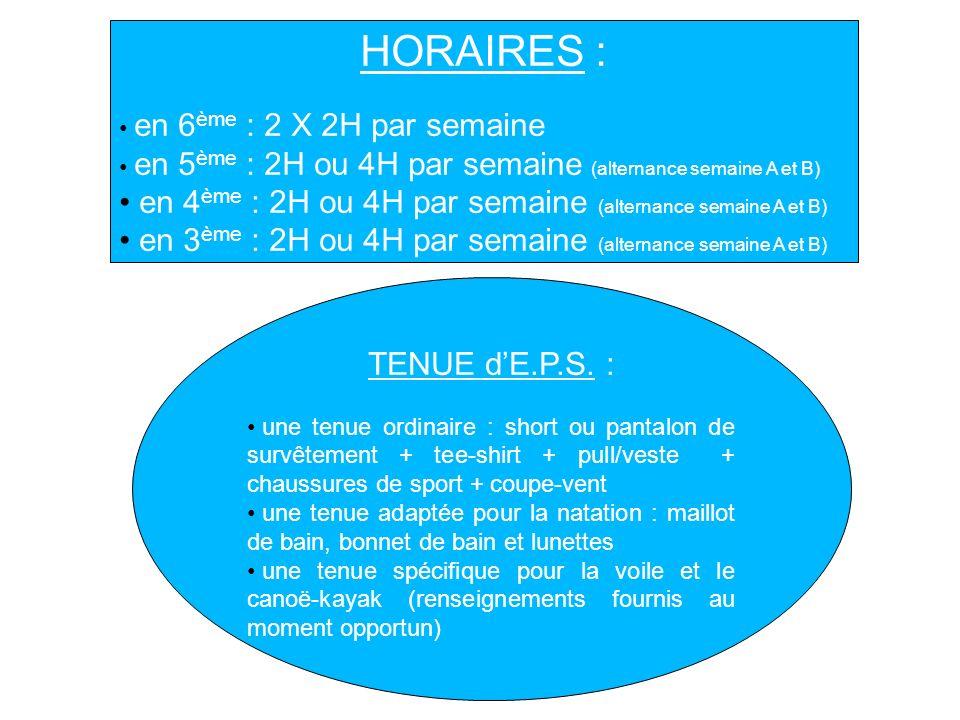 HORAIRES : en 4ème : 2H ou 4H par semaine (alternance semaine A et B)
