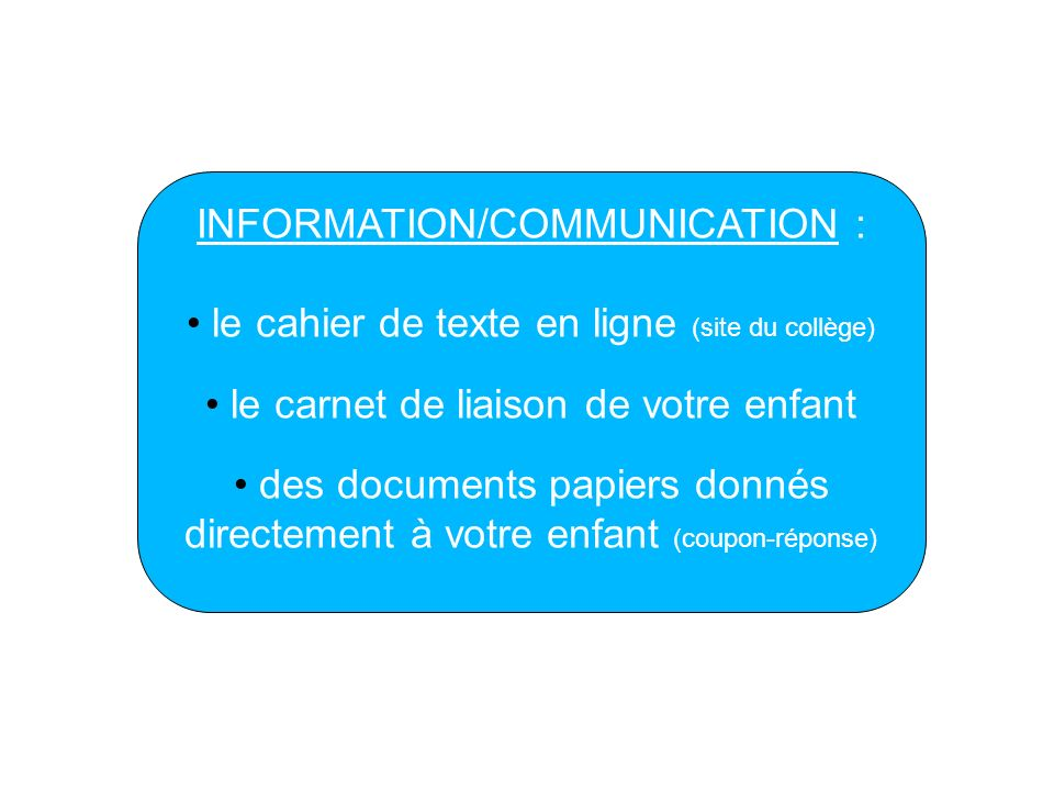 INFORMATION/COMMUNICATION :