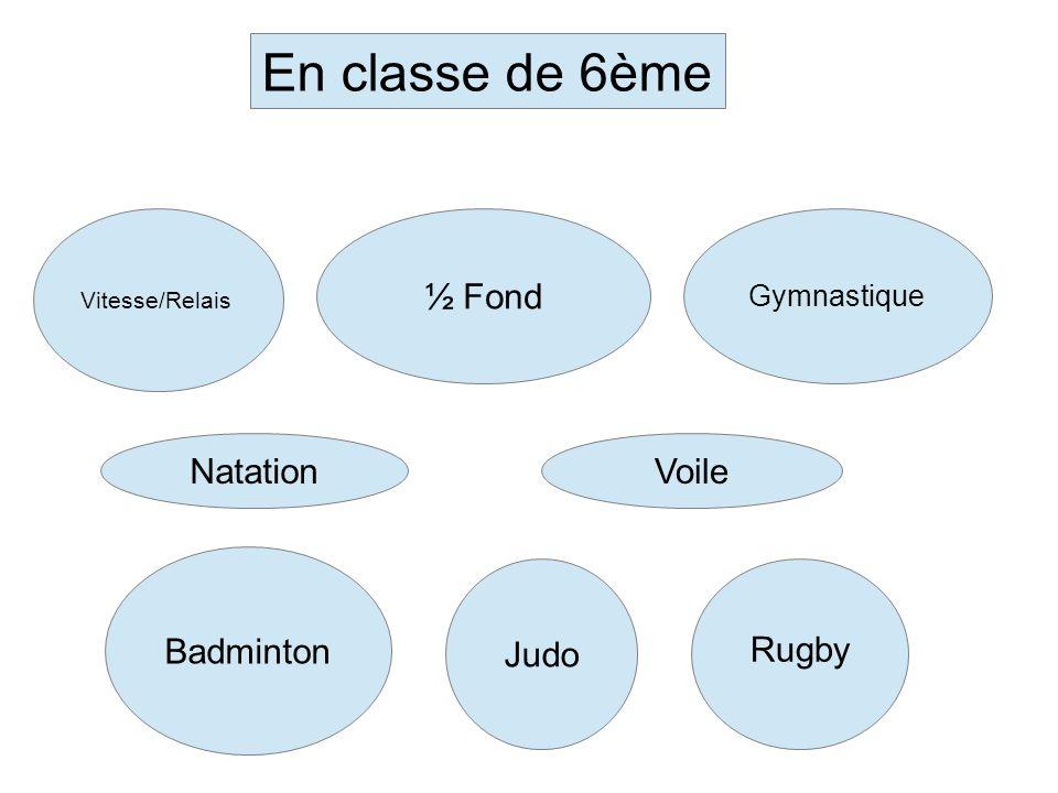 En classe de 6ème ½ Fond Natation Voile Badminton Judo Rugby