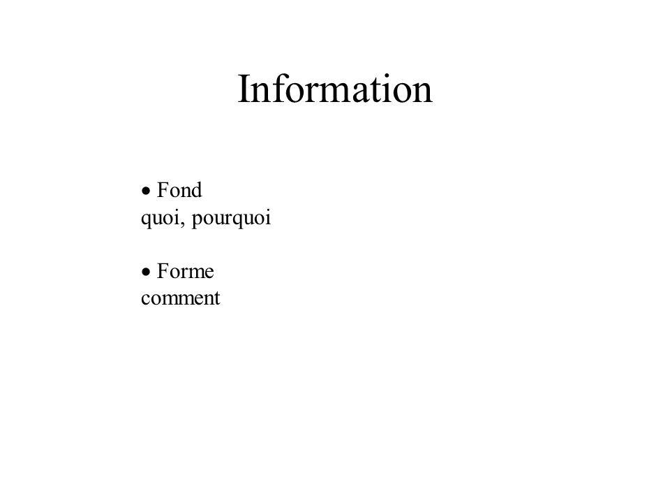 Information  Fond quoi, pourquoi  Forme comment