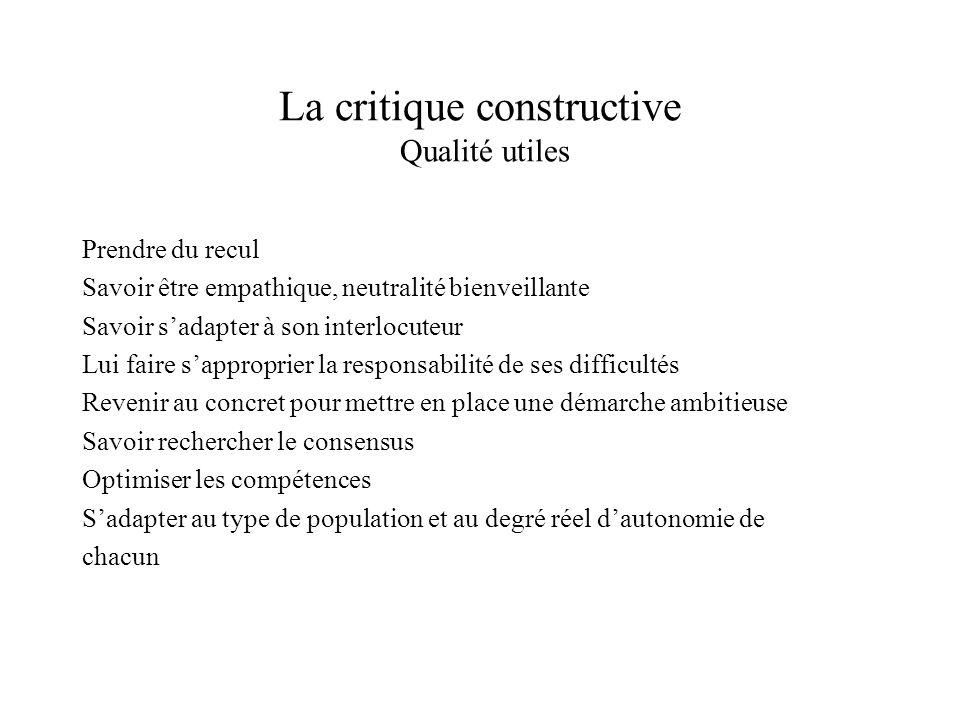 La critique constructive Qualité utiles