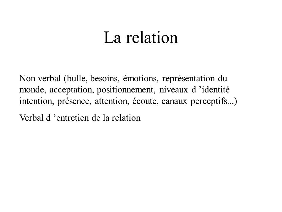 La relation