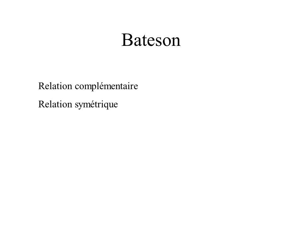 Bateson Relation complémentaire Relation symétrique