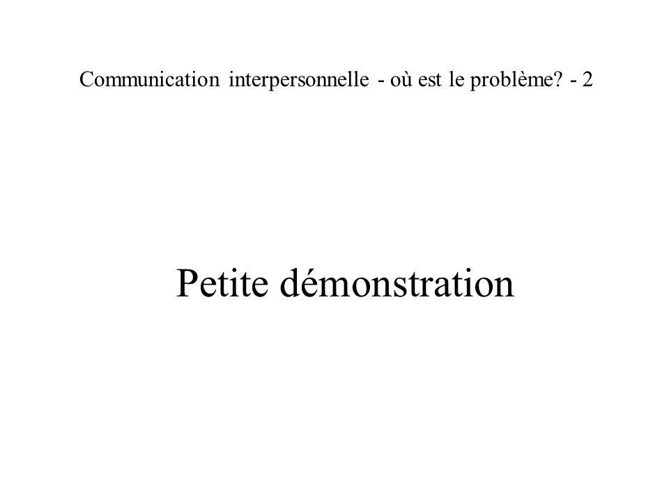 Communication interpersonnelle - où est le problème - 2