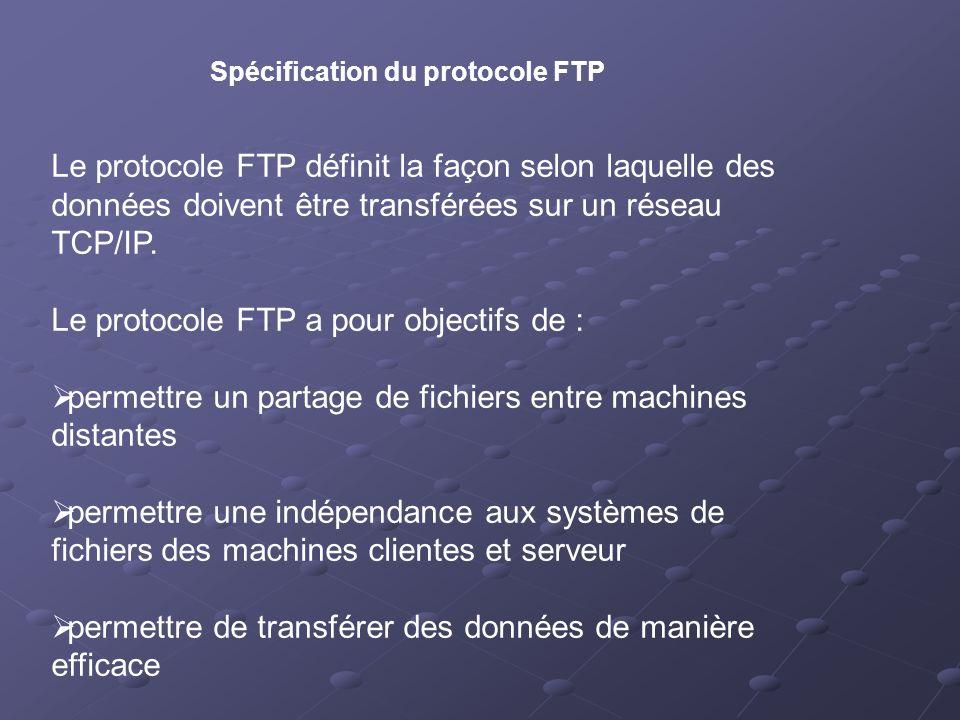 Le protocole FTP a pour objectifs de :