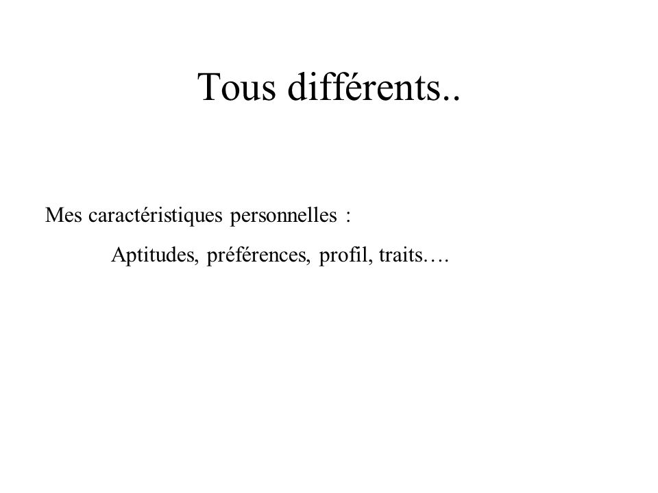 Tous différents.. Mes caractéristiques personnelles :