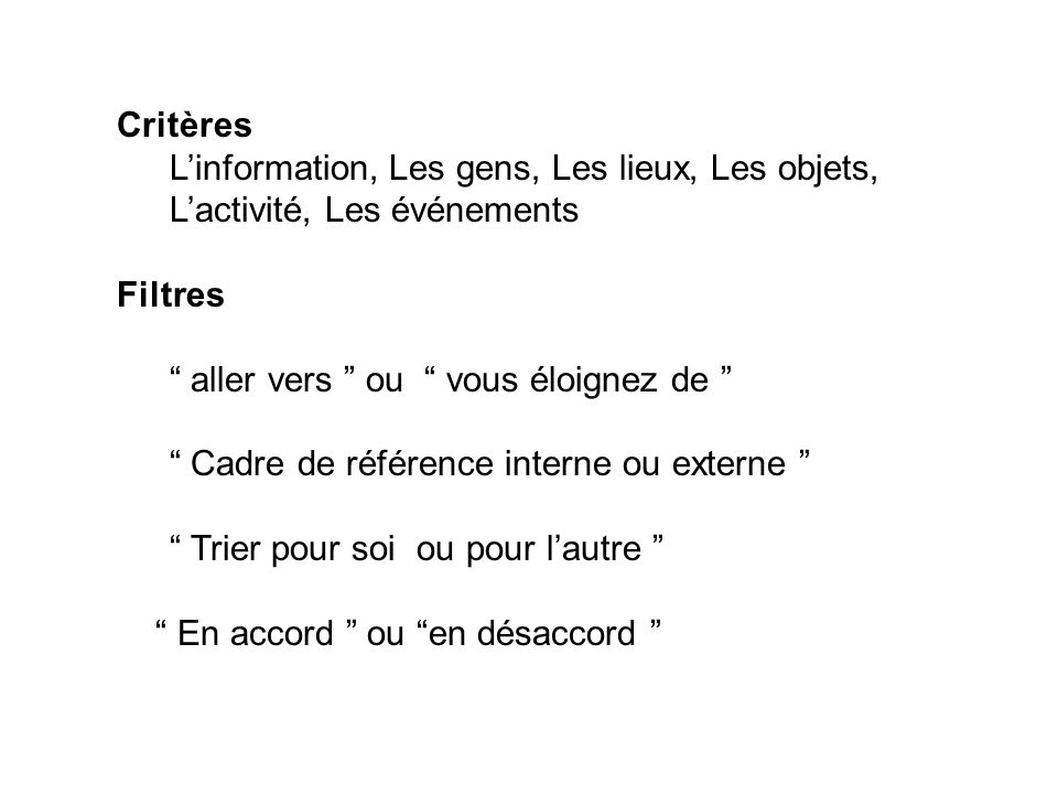 Critères L'information, Les gens, Les lieux, Les objets, L'activité, Les événements. Filtres. aller vers ou vous éloignez de