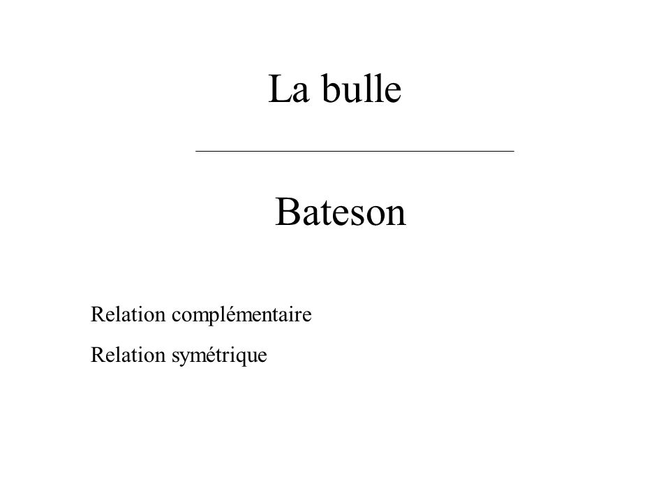 La bulle Bateson Relation complémentaire Relation symétrique