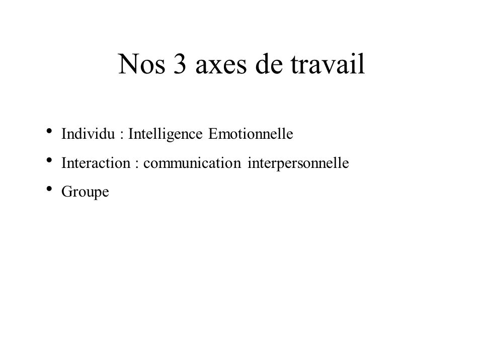 Nos 3 axes de travail Individu : Intelligence Emotionnelle
