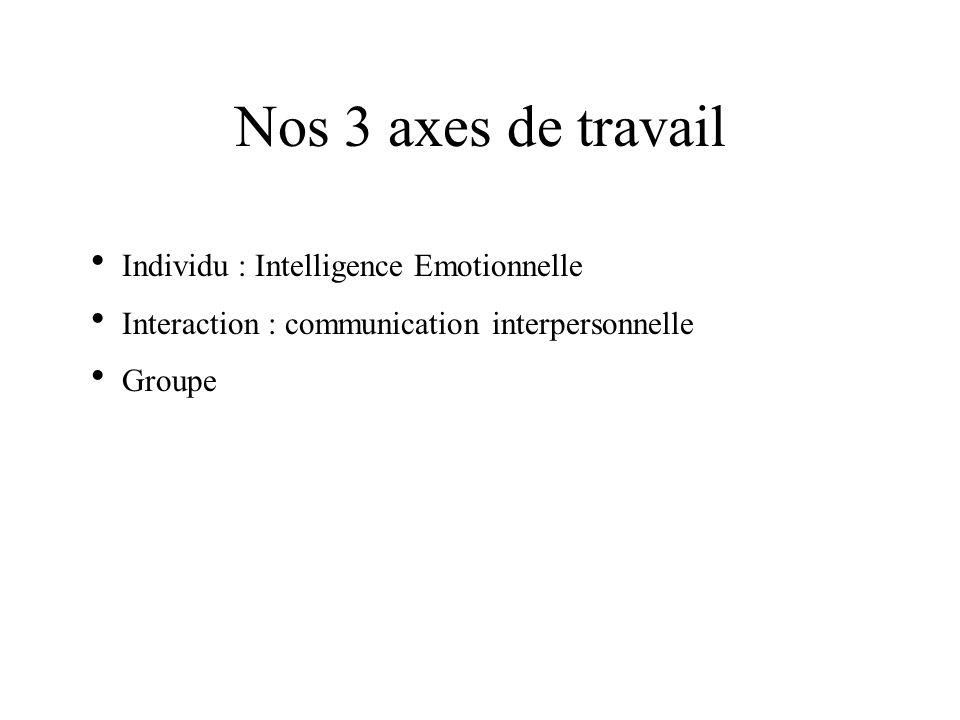 Nos 3 axes de travail Individu : Intelligence Emotionnelle